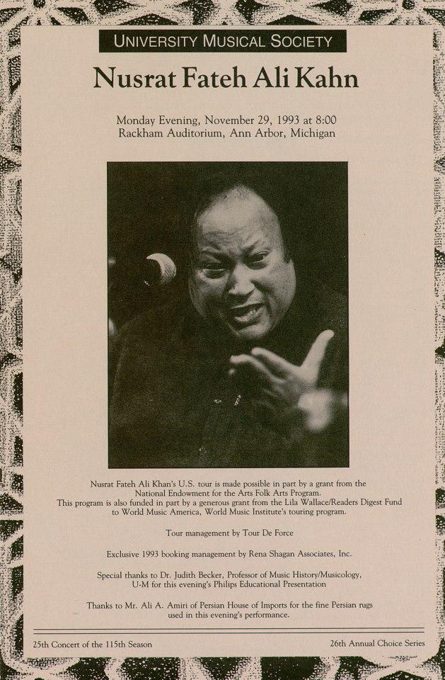 Nusrat Fateh Ali Khan, 1993 Poster US, Nusrat Online