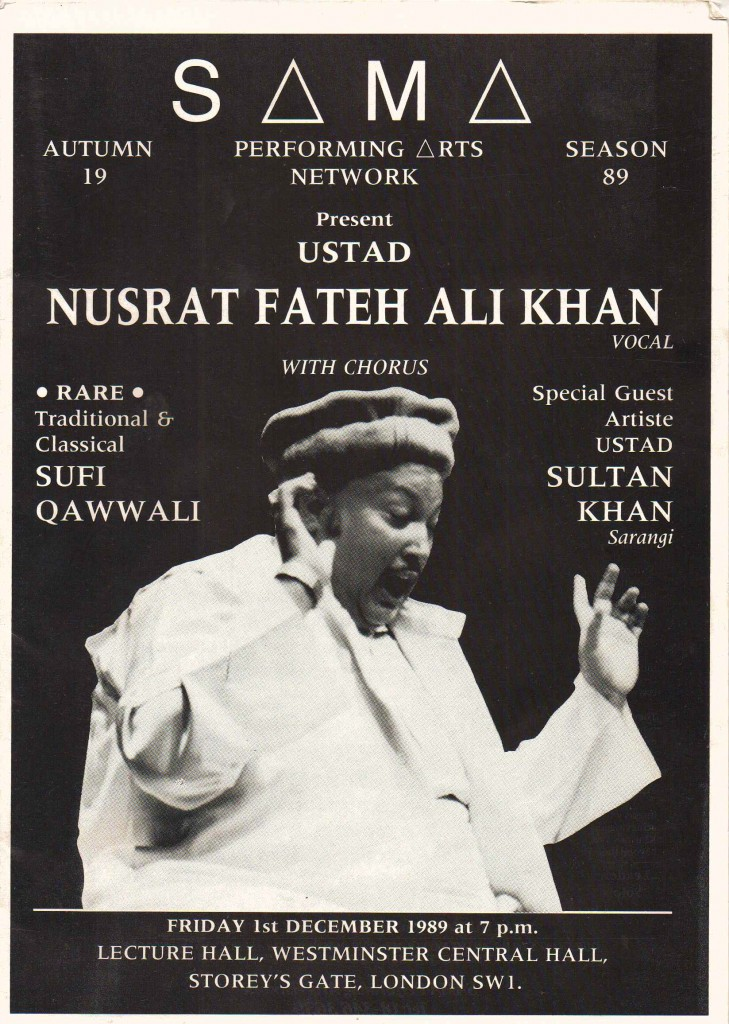 Nusrat Fateh Ali Khan, 1989 London Concert Poster